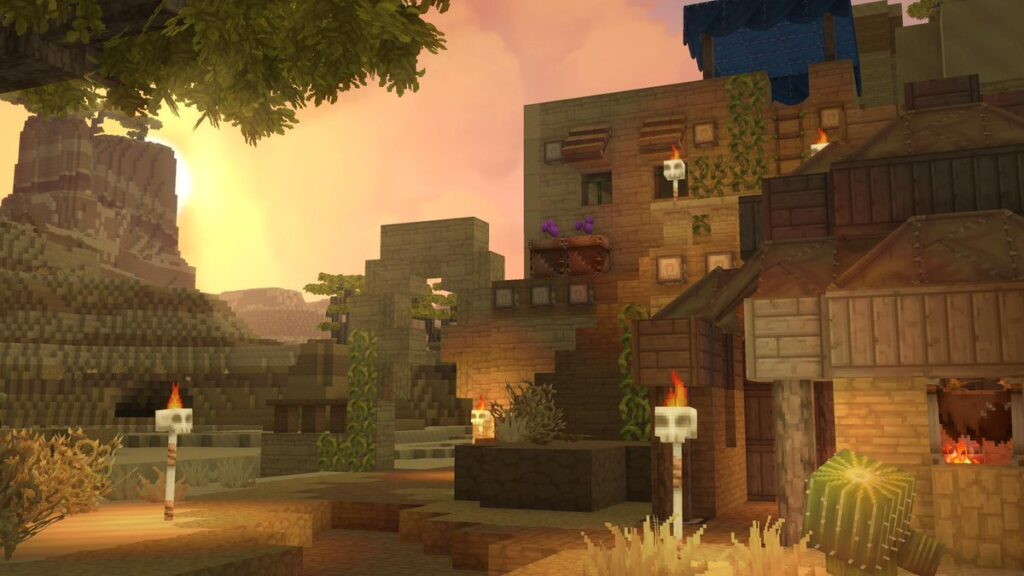 Hytale house in sand