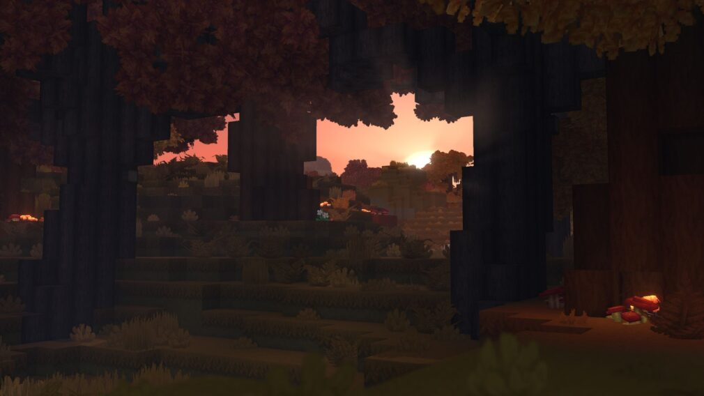 Hytale trees sunset